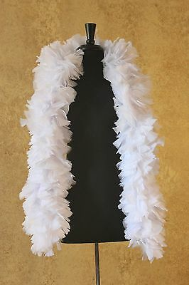 THICK White 240 gm 6ft Wire Wrapped Turkey Feather Boa Theater Quality Stage