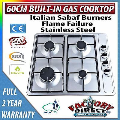 Adelchi 60cm 600mm Stainless Steel 4 Burner Gas Cooktop  NG/LPG AGA Approved