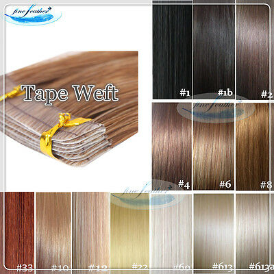 """20"""" 100% Indian Remy Tape Skin weft Hair Extensions Black Brown Blonde 20pcs"""