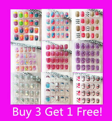 20/24 Girls Designer Acrylic Fake Nails Tips Great For Party  Buy 2 Get 1 Free!