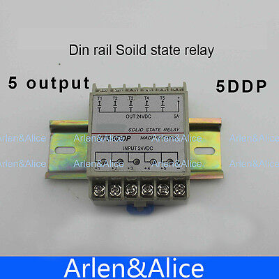 5DDP 5 Channel Din rail SSR input output 24VDC single phase DC solid state relay