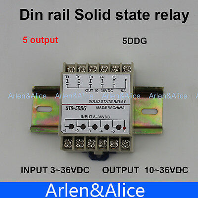 5DDG 5 Channel Din rail SSR input 3~32VDC output 5~36VDC solid state relay