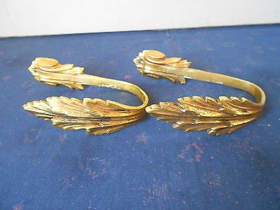2 French Antique CHATEAU BRONZE Tiebacks HOOKS ACANTHUS holders marked