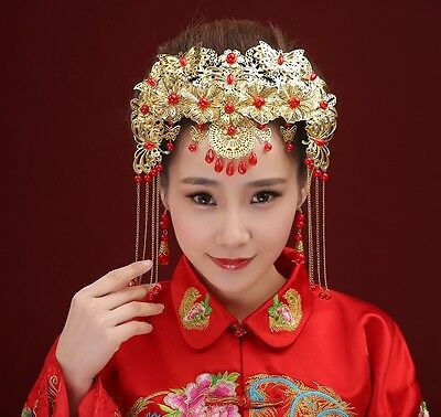 Chinese Style Wedding Bridal Headpieces Vintage Party Ancient Tiara Gold