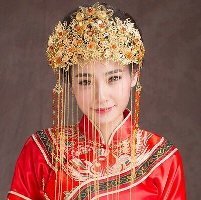 Chinese Style Wedding Bridal Headpieces Party Ancient Tiara Vintage Classic