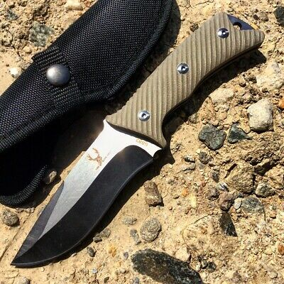 "9"" Full Tang Two Tone Blade TheBoneEdge Hunting Knife G10 Handle with Sheath"
