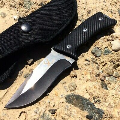 "9"" G10 Handle Full Tang Two Tone Blade TheBoneEdge Hunting Knife with Sheath"