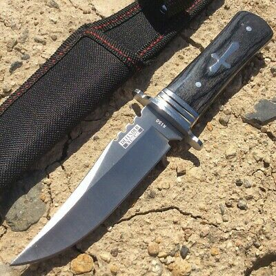 "8""  Defender Xtreme Hunting Knife Full Tang Stainless Steel Blade with Wood Hand"