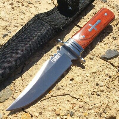 "7.5"" Defender Xtreme Hunting Knife Full Tang Stainless Steel Blade with Wood Han"