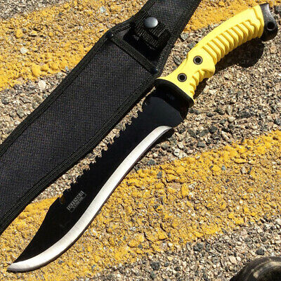 "16"" Defender Xtreme Full Tang Hunting Knife with Black/Yellow Rubber Handle"