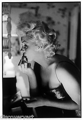 Marilyn Monroe Makeup Room Portrait Stretched Canvas Art Movie Poster Print Lips
