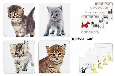 KitchenCraft Cork Coasters Set of 4 Kittens, Scottie Dog or Cats and Dogs Design