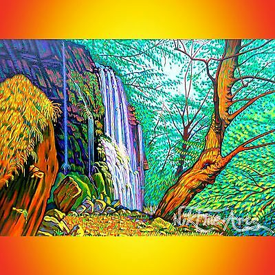 Original Painting Large Signed Art Collector Investment Waterfall Wall Deco Uk