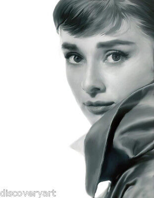 Audrey Hepburn Red Lips Stretch Canvas Wall Art Movie Poster Print Fashion Icon
