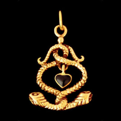 2 snakes with onyx heart bronze pendant jewelry