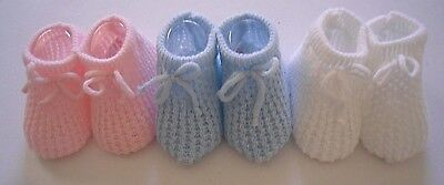 Baby Girls Boys Knitted Booties Bootees Socks Newborn 0 6 Beige Pink Blue White