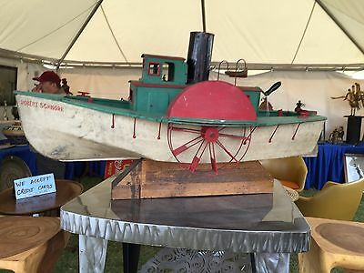 Antique1920 Model Ship Mechanical Toy Paddle Boat Maritime Folk Art