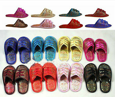 Chinese Handmade Vintage Silk Satin Women'S Men Shoes Slippers