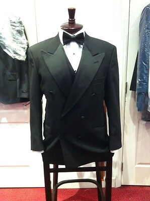 Mens Double Breasted Classic Vintage Black Peak Lapels Tuxedo Jacket 100% Wool