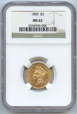 1859 $3 Gold (#4901) NGC MS62. Lustrous Attractive Coin with Nice Strike.