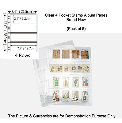 SINGLE NEW SIDED 9-hole, 4 POCKETS CLEAR STAMP & BANKNOTE ALBUM Pages Pack of 5