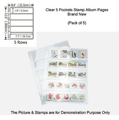 NEW SINGLE SIDED 9-hole, 5 POCKETS CLEAR STAMP & BANKNOTE ALBUM Pages Pack of 5