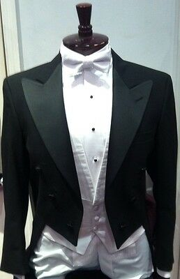 "Mens Classic Black ""White Tie"" Full Dress Tails Peak LapelsTuxedo Jacket Vintage"