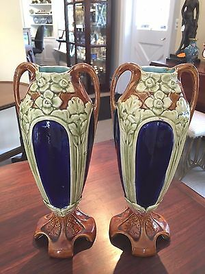 Antique French European Hand Painted Majolica Art Nouveau Urn Vase Numbered
