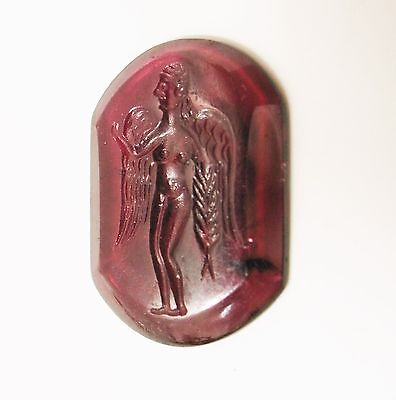 Ancient Roman gartnet ring's seal with a winged female figure 200 BC- AD 2.2 cm