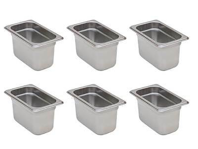 "6-Pack 1/9 Size Stainless Steel Silver Steam Table / Hotel Pans - 4"" Deep"