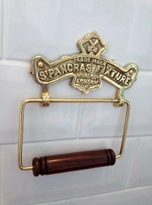 Vintage Toilet Roll Holder Shabby Chic Gold Brass Unusual Antique St Pancras Old