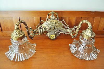 Gleaming Antique Solid Brass Double Arm Wall Sconce Completely Rewired - F/s !