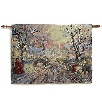 Thomas Kinkade Fiber Optic Wall Tapestry - Victorian Christmas/Hometown Memories