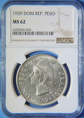 1939 Dominican Republic Silver Peso Coin KEY DATE NGC Graded MS62 Uncirculated