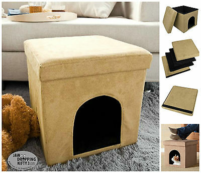 Pet Bed Ottoman Beige Soft Micro Suede Dog Cat Furniture Stool House