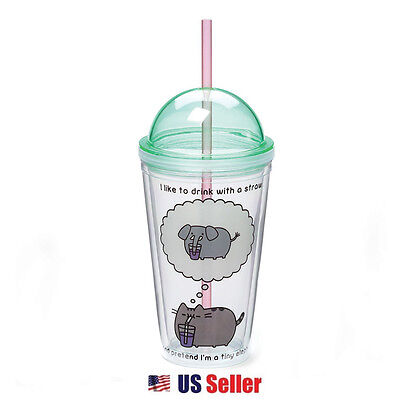 Gund Pusheen the Cat 16oz Plastic Tumbler Water Bottle with Cap and Straw