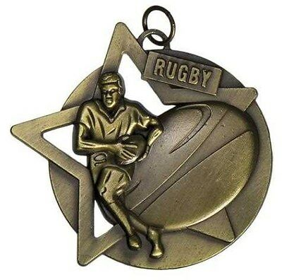 Rugby Antique Gold Medal 50mm Diameter Engraved FREE / Ribbon Included