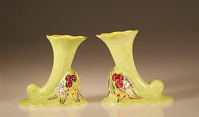 James Kent Ltd.  Pair of Handpainted Horn Vases,  Made In England c. 1930s