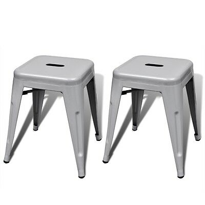 New 2 pcs Grey Stackable Small Metal Stool Steel Water-resistant Sturdy Durable