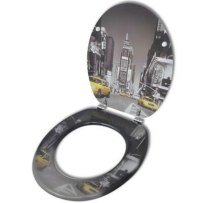 New Toilet Seat with MDF Lid New York Design Durable Chrome-zinc Alloy Sturdy