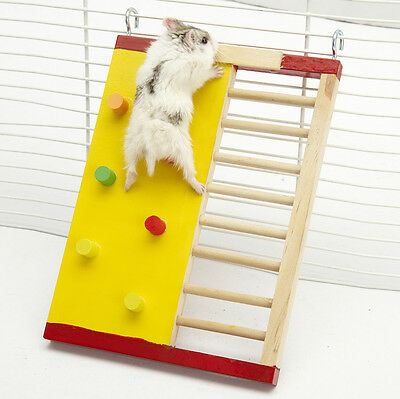 Funny Colorful Natural Exercise Hamster Toy Climbing Ladder Wooden Rat Mouse