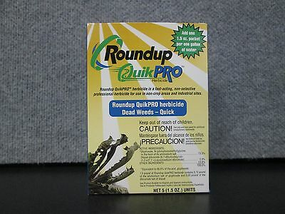 Roundup Quick Pro Commercail Weed Killer 1 box of 5-1.5oz Packs Makes 5 Gallons