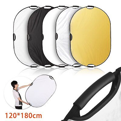 Pro 5-in-1 120x180cm Oval Reflector with Handle for Photography Studio Light