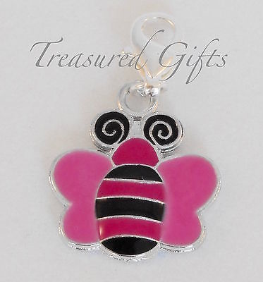 Pink & Black Butterfly Silver Plated Clip on Charm