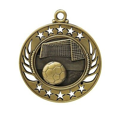 Soccer Antique Gold 60mm Diameter Medal Inc Neck Ribbon / Engraving