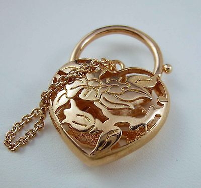 9ct 9k Rose Gold GF Filigree Heart Locket Padlock