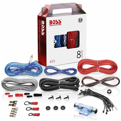 Kit Completo Boss Audio Cavi Audio Rca Amplificatore Subwoofer Auto 8 Gauge