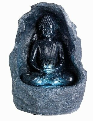 Grey Buddha Water Feature in Surround Indoor Table Top Fountain