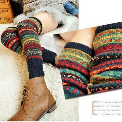Retro Women Winter Crochet Knit High Knee Leg Warmers Leggings Boot Socks Slouch