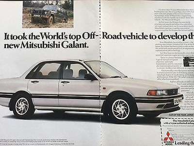 "MITSUBISHI GALANT 1988 # ORIGINAL VINTAGE AUTOMOTIVE ADVERT # 11"" x 16"""